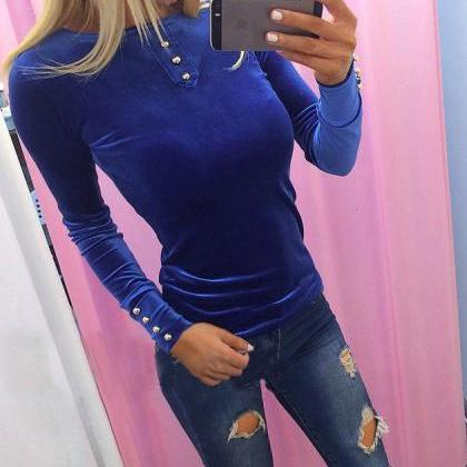 Solid Color Round Neck Long-Sleeved..
