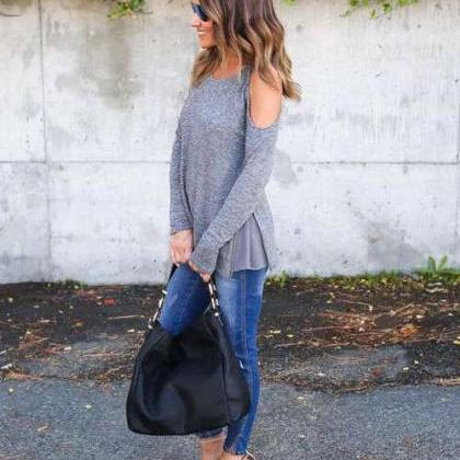 Round Neck Shoulder Long Sleeve T-S..
