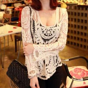 Sexy lace embroidered blouse AD1013..