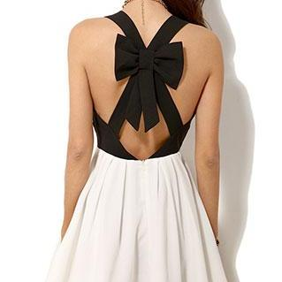 Black And White Crossback Bowknot L..