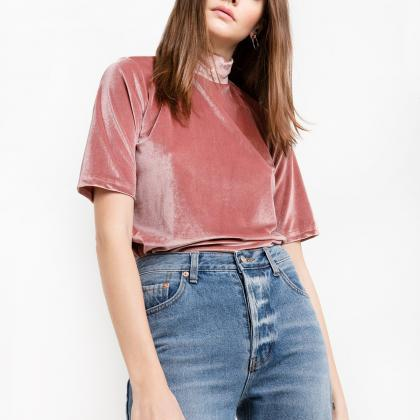 Dusty Pink Velvet Top Featuring Moc..