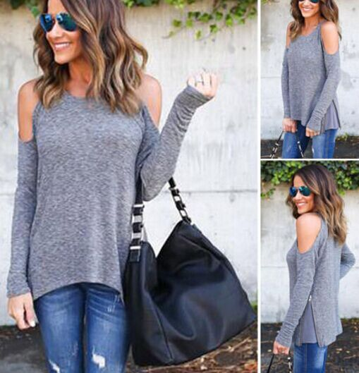 Round Neck Shoulder Long Sleeve T-Shirt
