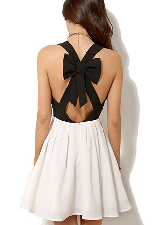 Black And White Crossback Bowknot Low Cut Tank Dress SF01JL