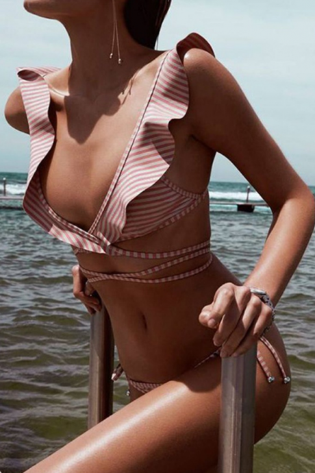 Sexy Stripe Two-Piece Swimwear