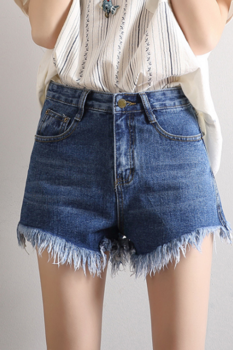 High Waisted Denim Shorts Featuring Frayed Hem