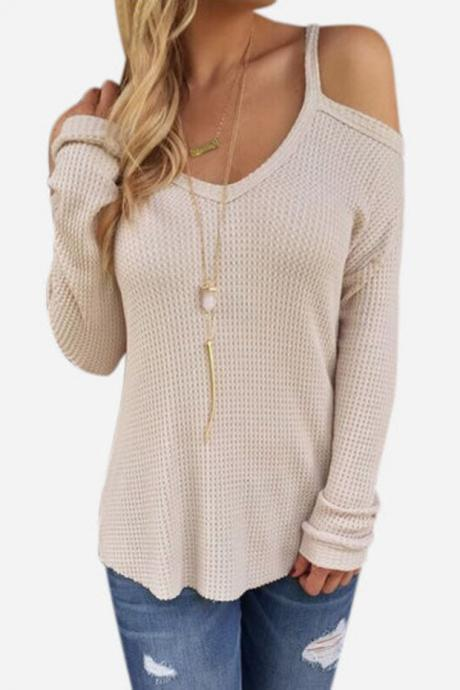 Knitted Plunge V Cold Shoulder Long Sleeved Top