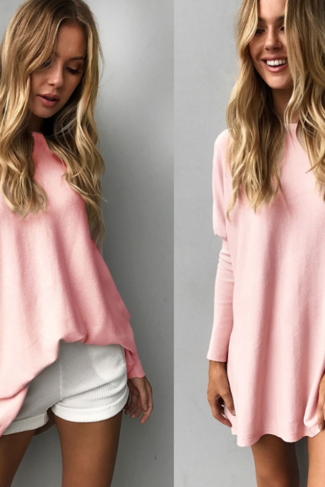 Women Solid Color Round Neck Long-Sleeved T-Shirt