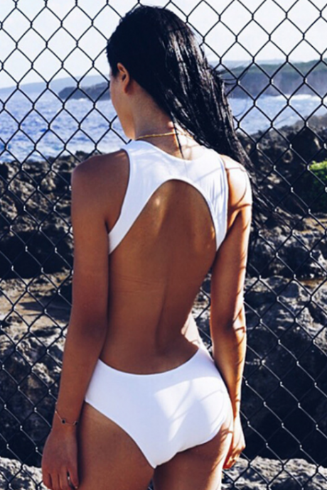 Sexy Solid Color White High Waist Backless One Piece Swimwear