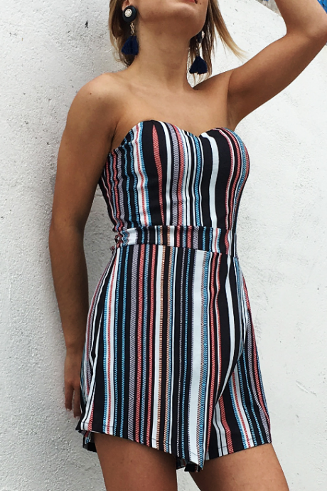 2018 Sexy High Waist Backless Striped Jumpsuit