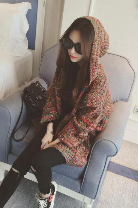 Loose knit hooded sweater coat DF11110KJ
