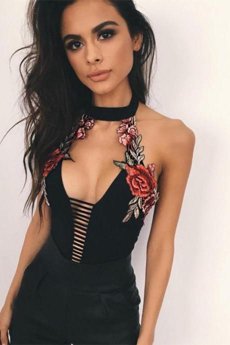 Black Floral Embroidered Bodysuit Featuring Halter Neck, Cutout Detailing and Open Back