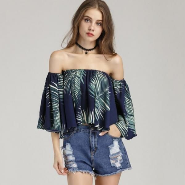 Palm Leaf Print Chiffon Off-The-Shoulder Flare-Sleeved Blouse