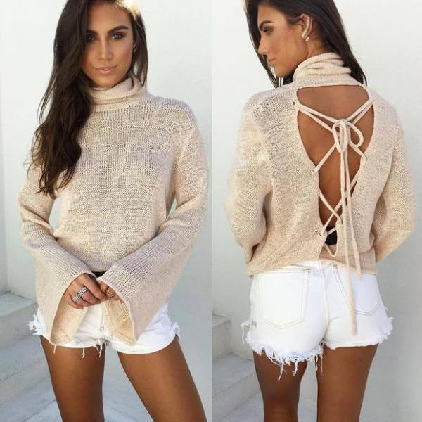 Long Sleeve Bat Winter Knit Tops