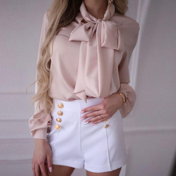 Long Sleeve Slim Bow Temperament Shirt