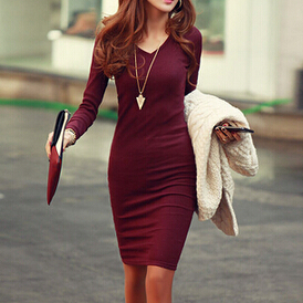 V-Neck Knit Dress