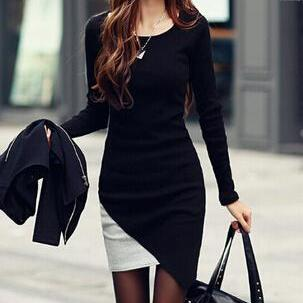 Slim round neck long-sleeved dress SF110402JL