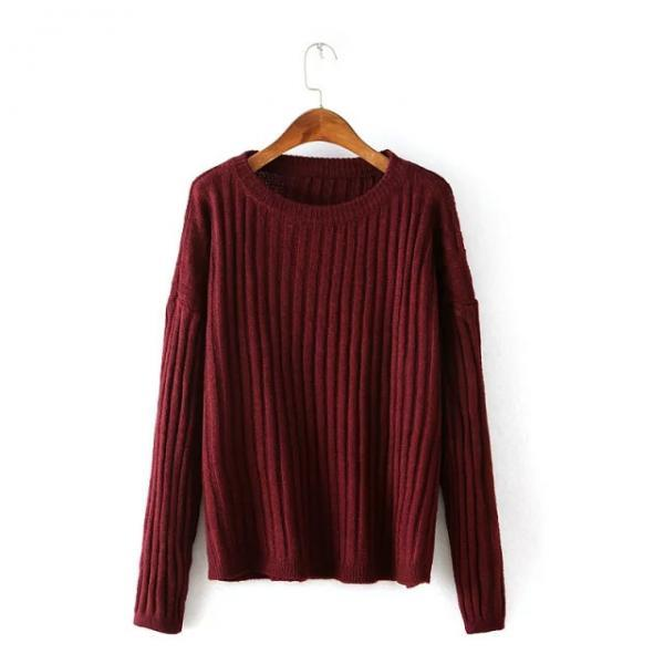 LOOSE ROUND NECK LONG-SLEEVED STRIPED SWEATER